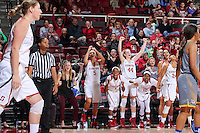 STANFORD, CA - December 22, 2015: Stanford defeats CSU Bakersfield 83-41 at Maples Pavilion. Team celebrates after Tess Picknell's basket.