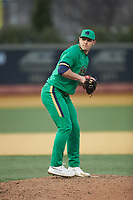 Notre Dame Fighting Irish relief pitcher Cole Kmet (33) in action against the Wake Forest Demon Deacons at David F. Couch Ballpark on March 10, 2019 in  Winston-Salem, North Carolina. The Fighting Irish defeated the Demon Deacons 8-7 in 10 innings in game two of a double-header. (Brian Westerholt/Four Seam Images)