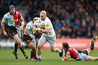 Vincent Koch of Saracens takes on the Harlequins defence. Aviva Premiership match, between Harlequins and Saracens on December 3, 2017 at the Twickenham Stoop in London, England. Photo by: Patrick Khachfe / JMP