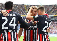 celebrate the goal, Torjubel zum 1:0 von Martin Hinteregger (Eintracht Frankfurt) mit David Abraham (Eintracht Frankfurt), Danny da Costa (Eintracht Frankfurt),  Dominik Kohr (Eintracht Frankfurt) - 18.08.2019: Eintracht Frankfurt vs. TSG 1899 Hoffenheim, Commerzbank Arena, 1. Spieltag Saison 2019/20 DISCLAIMER: DFL regulations prohibit any use of photographs as image sequences and/or quasi-video.
