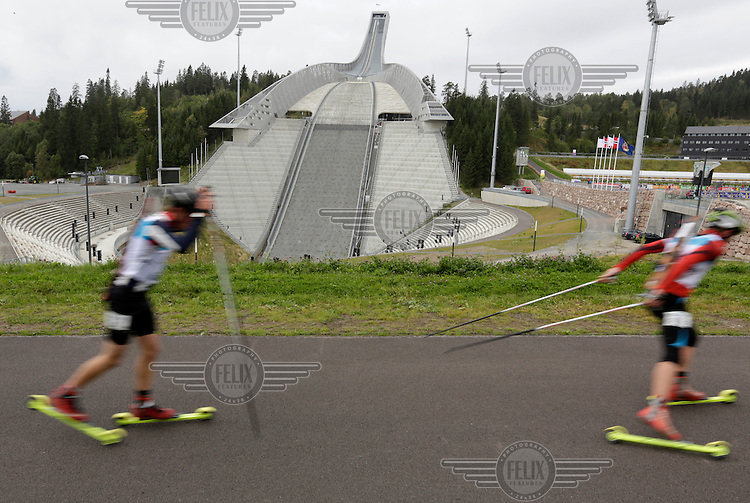Holmenkollen has been a ski recreation area since the late 19th century, with its famous, eponymous, ski jumping hill, the Holmenkollbakken, hosting competitions since 1892. To the north, the area borders to the woodlands area Marka.