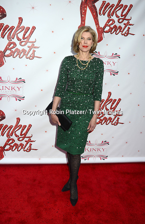 """Christine Baranski  arrives at the """"Kinky Boots"""" Broadway Opening on April 4, 2013 at The Al Hirschfeld Theatre in New York City. Harvey Fierstein wrote is the Book Writer and Cnydi Lauper is the Composer."""