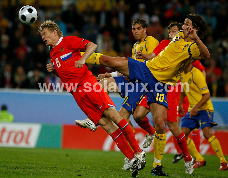 **ALL ROUND PICTURES FROM SOLARPIX.COM**.**SYNDICATION RIGHTS FOR UK AND SPAIN ONLY**.Euro 2008 European Football Championship being held in Austria/Switzerland.  Preliminary, Group D, Match 24, Russia vs Sweden, at the Tivoli-Neu Stadium, Innsbruck, Austria. 18th June 2008..This pic: Denis Kolodin..JOB REF: 6689 CPR/Timm Schamberger       .DATE: 18_06_2008.**MUST CREDIT SOLARPIX.COM OR DOUBLE FEE WILL BE CHARGED* *UNDER NO CIRCUMSTANCES IS THIS IMAGE TO BE REPRODUCED FOR ANY ONLINE EDITION WITHOUT PRIOR PERMISSION*