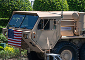 "The front cab of Lockheed-Martin Corporation's THAAD Vehicle on the driveway of the White House prior to United States President Donald J. Trump hosting the Third Annual ""Made in America"" Product Showcase in Washington, DC on Monday, July 15, 2019.<br /> Credit: Ron Sachs / CNP"