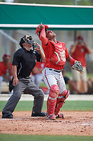 Umpire Kai Nakamura and GCL Nationals catcher Jose Cabello (22) look for a popup during the first game of a doubleheader against the GCL Marlins on July 23, 2017 at Roger Dean Stadium Complex in Jupiter, Florida.  GCL Nationals defeated the GCL Marlins 4-0.  (Mike Janes/Four Seam Images)