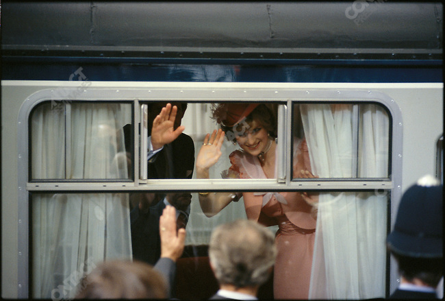 Prince Charles and Princess Diana on the start of their honeymoon. London, England, July 1981.