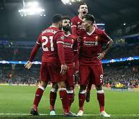 Liverpool's Mohamed Salah (2nd left) celebrates with team mates after scoring his side's equalising goal to make the score 1 - 1<br /> <br /> Photographer Rich Linley/CameraSport<br /> <br /> UEFA Champions League Quarter-Final Second Leg - Manchester City v Liverpool - Tuesday 10th April 2018 - The Etihad - Manchester<br />  <br /> World Copyright &copy; 2017 CameraSport. All rights reserved. 43 Linden Ave. Countesthorpe. Leicester. England. LE8 5PG - Tel: +44 (0) 116 277 4147 - admin@camerasport.com - www.camerasport.com