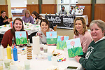 """Moms and their children gather for """"Paint with Pinot"""", an event benefiting """"Expanding YOUR Horizons"""". Expanding YOUR Horizons is a local orginization devoted to developing self-esteem, self-determination, and independence within adults with cognitive and developmental disabilities."""