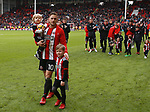 Billy Sharp of Sheffield Utd applauds the fans during the championship match at the Bramall Lane Stadium, Sheffield. Picture date 28th April 2018. Picture credit should read: Simon Bellis/Sportimage