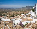 Rooftops in the Andalucian village of Zahara de la Sierra, Cadiz province, Spain in the Parque Natural de Sierra de Grazalema,