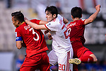Sardar Azmoun of Iran (C) competes for the ball with Que Ngoc Hai of Vietnam (L) during the AFC Asian Cup UAE 2019 Group D match between Vietnam (VIE) and I.R. Iran (IRN) at Al Nahyan Stadium on 12 January 2019 in Abu Dhabi, United Arab Emirates. Photo by Marcio Rodrigo Machado / Power Sport Images