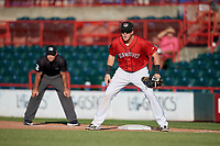 Erie SeaWolves first baseman Josh Lester (17) during an Eastern League game against the Richmond Flying Squirrels on August 28, 2019 at UPMC Park in Erie, Pennsylvania.  Richmond defeated Erie 6-4 in the first game of a doubleheader.  (Mike Janes/Four Seam Images)