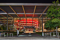 The entrance to the Margot and Bill Winspear Opera House in Dallas. Winspear Opera House located in the Art District in Dallas Texas is a very impressive site and has become part of the Dallas cityscape.  I also thought the grounds around the building were lovely and set up to be enjoyed by all.
