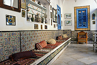 Tunisia, Sidi Bou Said.  Outer Reception Room of Dar Annabi, a Private Home open for Public Viewing.  Originally constructed 18th. century, remodeled 20th. century.  Inner reception rooms are reserved for family and close friends.