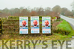 Posters for independent Michael O'Gorman also on the fence at the Go Safe parking place at the Six Crosses, Listowel without the election date being announced.