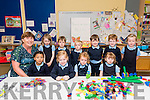 Scoil Fheirtéaraígh pupils on their first day at school. F-L: Emily Piogóid, Ellie Nic Gearailt, Caoimhe Corduibh, Róise Ní Bhaoill. B-L: Múinteoir Mairín Uí Chonchúir, Méabh Martinez, Aodhan Mac Gearailt, Micheal Ó Dubhda, Gaibrial Eadie, Tommy Ó Fearíosa, Aisling Ní hAllarain.