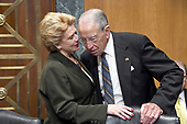 "United States Senators Debbie Stabenow (Democrat of Michigan), left, and Chuck Grassley (Republican of Iowa), right, share conversation as they await the start of the US Senate Committee on Finance ""Hearing to Consider the Graham-Cassidy-Heller-Johnson Proposal"" on the repeal and replace of the Affordable Care Act (ACA) also known as ""ObamaCare"" in Washington, DC on Monday, September 25, 2017.<br /> Credit: Ron Sachs / CNP"