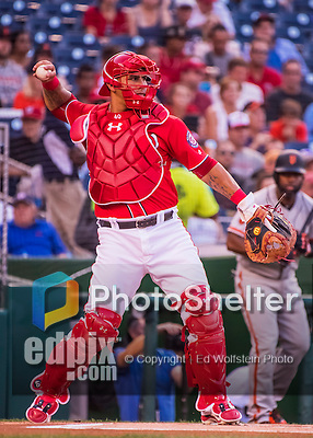 6 August 2016: Washington Nationals catcher Wilson Ramos in action against the San Francisco Giants at Nationals Park in Washington, DC. The Giants defeated the Nationals 7-1 to even their series at one game apiece. Mandatory Credit: Ed Wolfstein Photo *** RAW (NEF) Image File Available ***