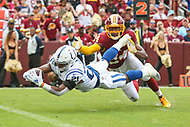 Landover, MD - September 16, 2018: Indianapolis Colts running back Nyheim Hines (21) dives for a touchdown during the  game between Indianapolis Colts and Washington Redskins at FedEx Field in Landover, MD.   (Photo by Elliott Brown/Media Images International)