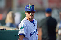 Eric Peterson (33) of the Ogden Raptors before the game against the Great Falls Voyagers at Lindquist Field on August 16, 2017 in Ogden, Utah. The Voyagers defeated the Raptors 11-6. (Stephen Smith/Four Seam Images)
