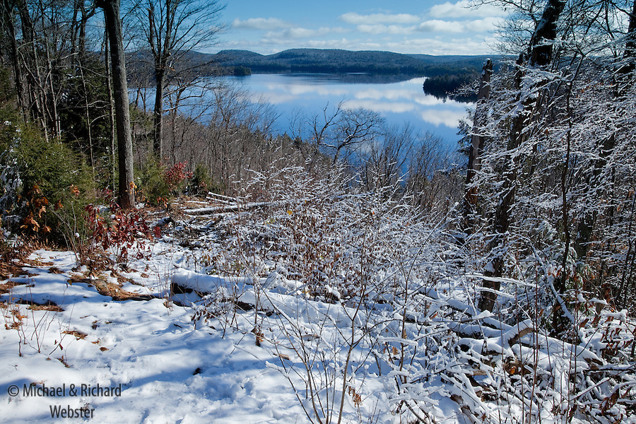 The first snow of winter arrives in Algonquin Provincial Park, Ontario, Canada.