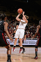 STANFORD, CA - NOVEMBER 26: Toni Kokenis of Stanford women's basketball puts up a shot from beyond the 3-point line in a game against South Carolina on November 26, 2010 at Maples Pavilion in Stanford, California.  Stanford topped South Carolina, 70-32.