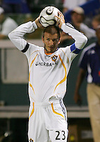Los Angeles Galaxy midfielder (23) David Beckham on a throw in during the SuperLiga finals between the Los Angeles Galaxy of MLS and CF Pachuca of FMF at the Home Depot Center, Carson, CA, on August 29, 2007. Pachuca wins 4-3 on penalty kicks after the game finished in a 1-1 tie.