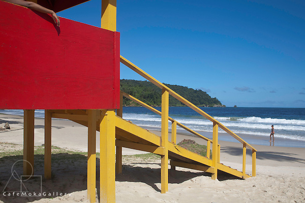 Lifeguard hut and beach colours and shapes at Maracas Bay