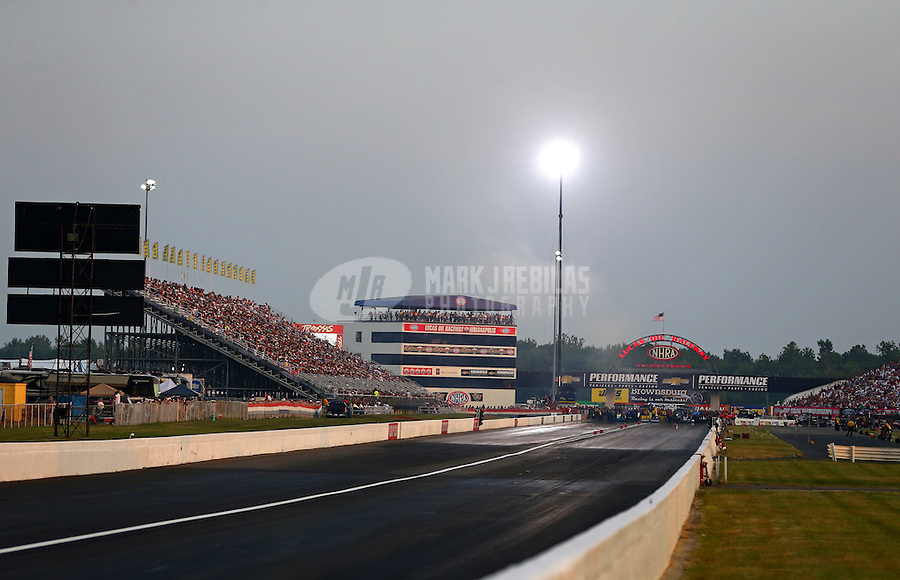 Aug. 30, 2013; Clermont, IN, USA: Overall view of Lucas Oil Raceway during NHRA qualifying for the US Nationals. Mandatory Credit: Mark J. Rebilas-