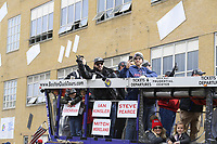 October 31, 2018: Boston Red Sox second baseman Ian Kinsler (5) and World Series MVP first baseman Steve Pearce (25) ride in a duck boat during the Boston Red Sox 2018 World Series championship celebration parade held in Boston, Mass.  Eric Canha/CSM