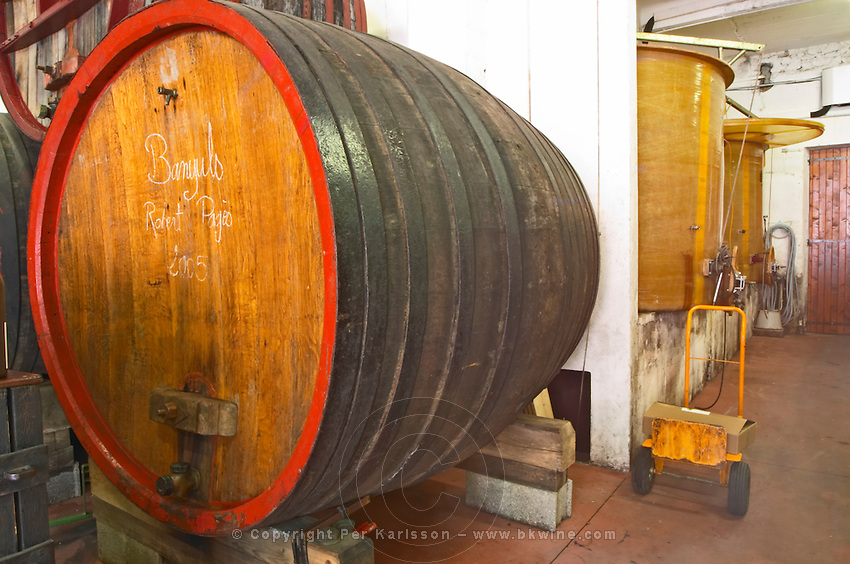 Domaine Madeloc, Banyuls sur Mer. Roussillon. Wooden fermentation and storage tanks. France. Europe.