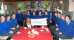 Pictured are pupils from Milltown school who held a coffee morning in aid of Kerry Hospice and raised 1050.00 euros<br /> from left to right Sheridan Dwyer, Noelle O'Brien Vivien Sayers, Michael O'Shea, Fergal O'Shea, Tadgh O'Shea, Dermot O'Connor, Liam Lacks, Kate Houlihan, Caitriona Power, Claire Hickey, Noreen Griffin, Sarah Lynch, Dannielle Crowley, Kirstie Devane and Lisa Sheahan presenting a cheque to Nuala Finnegan from Kerry Hospice <br /> picture MacMonagle Photo