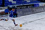 Jack Byrne of Oldham takes a corner with 13 minutes left. Oldham v Portsmouth League 1