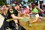 Romain Sicard (FRA) Direct Energie with fans at sign on before the start of Stage 2 of the 2018 Tour de France running 182.5km from Mouilleron-Saint-Germain to La Roche-sur-Yon, France. 8th July 2018. <br /> Picture: ASO/Alex Broadway | Cyclefile<br /> All photos usage must carry mandatory copyright credit (&copy; Cyclefile | ASO/Alex Broadway)