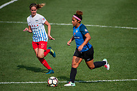 Kansas City, MO - Saturday September 9, 2017: Morgan Brian, Desiree Scott during a regular season National Women's Soccer League (NWSL) match between FC Kansas City and the Chicago Red Stars at Children's Mercy Victory Field.