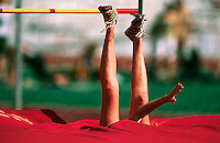 "The high jump mats appear to have eaten Emily Pfeufer after her second place jump of 5'10"" at the West/Central Pennsylvania Coaches Meet May 3, 2003 at Mansion Park in Altoona, PA."