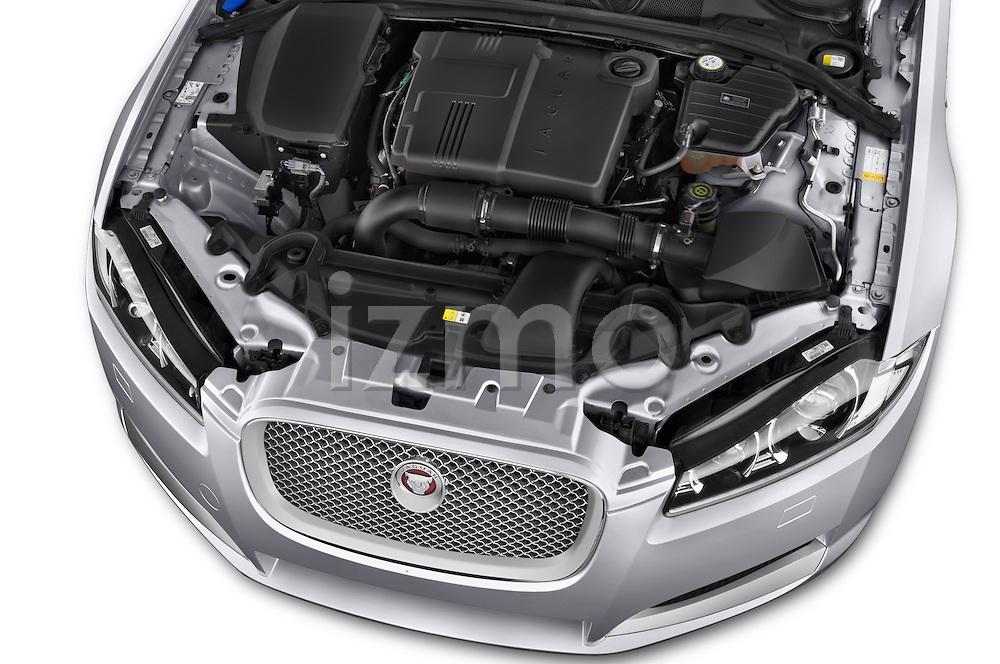 Car Stock 2015 Jaguar XF 2.2D 163 auto 4 Door Sedan 2WD Engine high angle detail view