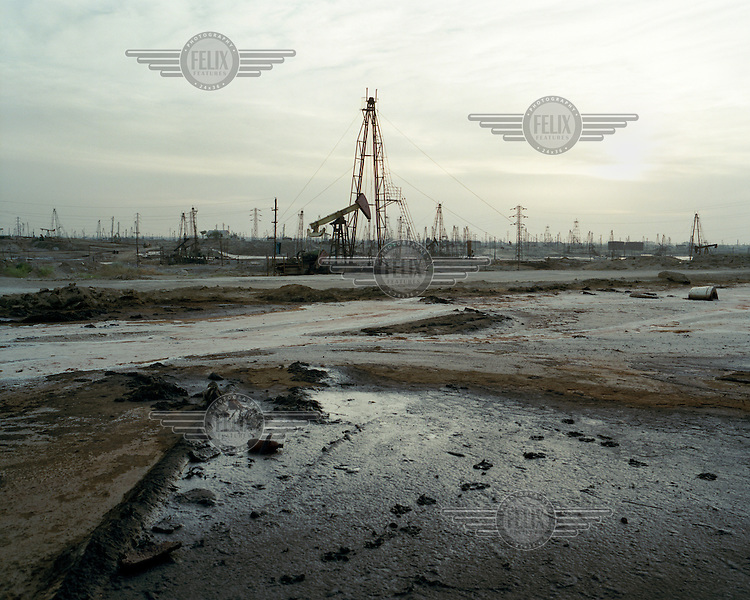 The SOCAR (State Oil Company of Azerbaijan Republic) oil fields in Ramana on the Absheron Peninsula. The history of oil in the Caspian is long standing. Wells were being hand-dug in the region as early as the 10th century and the world's first offshore and machine drilled wells wre built on the Absheron Peninsula during the 1870's.