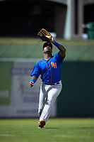 Midland RockHounds left fielder B.J. Boyd (9) settles under a fly ball during a game against the Arkansas Travelers on May 25, 2017 at Dickey-Stephens Park in Little Rock, Arkansas.  Midland defeated Arkansas 8-1.  (Mike Janes/Four Seam Images)