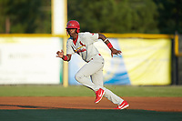 Carlos Soler (13) of the Johnson City Cardinals takes off for second bases during the game against the Burlington Royals at Burlington Athletic Stadium on September 3, 2019 in Burlington, North Carolina. The Cardinals defeated the Royals 7-2 to even Appalachian League Championship series at one game a piece. (Brian Westerholt/Four Seam Images)