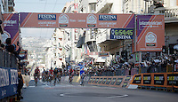 Arnaud D&eacute;mare (FRA/FDJ) crosses the finish line first<br /> <br /> 107th Milano-Sanremo 2016