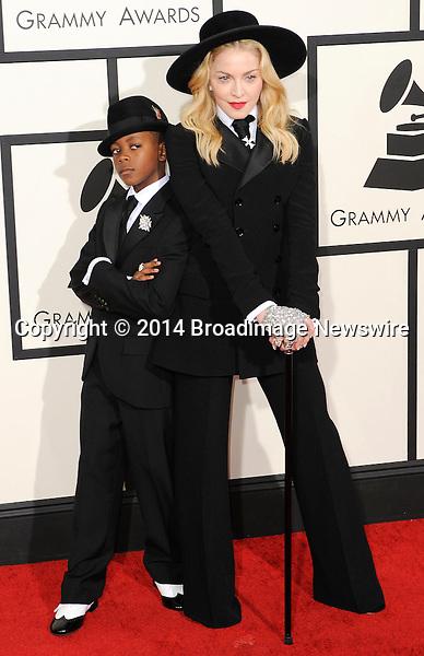 Pictured: Madonna, David Banda<br /> Mandatory Credit &copy; Adhemar Sburlati/Broadimage<br /> The Grammy Awards  2014 - Arrivals<br /> <br /> 1/26/14, Los Angeles, California, United States of America<br /> <br /> Broadimage Newswire<br /> Los Angeles 1+  (310) 301-1027<br /> New York      1+  (646) 827-9134<br /> sales@broadimage.com<br /> http://www.broadimage.com
