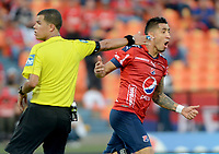 MEDELLÍN - COLOMBIA, 23-09-2017: Jonathan Lopera jugador del Medellín celebra después de anotar un gol al Rionegro durante el partido entre Independiente Medellín y Rionegro Águilas por la fecha 13 de la Liga Águila II 2017 jugado en el estadio Atanasio Girardot de la ciudad de Medellín. / Jonathan Lopera player of Medellin celebrates after scoring a goal to Rionegro during match between Independiente Medellin and Rionegro Aguilas for the date 13 of the Aguila League II 2017 played at Atanasio Girardot stadium in Medellin city. Photo: VizzorImage/ León Monsalve / Cont