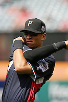 Gorkys Hernandez of the Pittsburgh Pirates organization participates in the Futures Game at Angel Stadium in Anaheim,California on July 11, 2010. Photo by Larry Goren/Four Seam Images