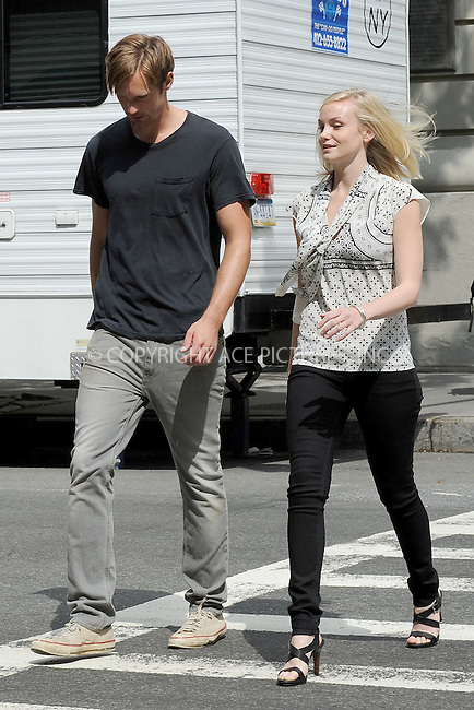 WWW.ACEPIXS.COM . . . . . .August 11, 2011 New York City....Alexander Skarsgard and Katrina Bowden  on the set of ' What Maisie Knew' on August 11, 2011 in New York City....Please byline: KRISTIN CALLAHAN - ACEPIXS.COM.. . . . . . ..Ace Pictures, Inc: ..tel: (212) 243 8787 or (646) 769 0430..e-mail: info@acepixs.com..web: http://www.acepixs.com .