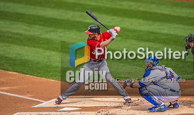 20 April 2013: Washington Nationals outfielder Bryce Harper at bat against the New York Mets at Citi Field in Flushing, NY. Harper went 3 for 3 with 3 RBIs and two home runs as the Nationals defeated the Mets 7-6 to tie their 3-game series at one a piece. Mandatory Credit: Ed Wolfstein Photo *** RAW (NEF) Image File Available ***
