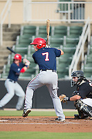 David Masters (7) of the Hagerstown Suns at bat against the Kannapolis Intimidators at CMC-Northeast Stadium on July 19, 2015 in Kannapolis, North Carolina.  The Suns defeated the Intimidators 9-4.  (Brian Westerholt/Four Seam Images)