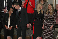 Senior Advisor Jared Kushner, second left, converses with Alice Johnson, left, who had been serving a mandatory life sentence without parole for charges associated with a nonviolent drug case, as he holds hands with his wife First Daughter and Advisor to the President Ivanka Trump, second left, who is in conversation with Lara Trump, right, prior to United States President Donald J. Trump delivering his second annual State of the Union Address to a joint session of the US Congress in the US Capitol in Washington, DC on Tuesday, February 5, 2019.  Kushner and actress Kim Kardashian brought Johnson's case to the President who granted her clemency on June 6, 2018. <br /> Credit: Alex Edelman / CNP/AdMedia