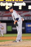 May 12, 2010 Pitcher Billy Bullock of the Fort Myers Miracle, Florida State League Class-A affiliate of the Minnesota Twins, delivers a pitch during a game at George M. Steinbrenner Field in Tampa, FL. Photo by: Mark LoMoglio/Four Seam Images