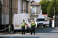 Pictured: A police cordon at Jeffrey Street, Newport, south Wales, UK. Wednesday 20 September 2017<br />